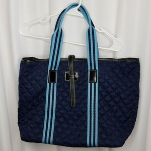 Handbags - Navy blue quilted large tote bag vinyl lined